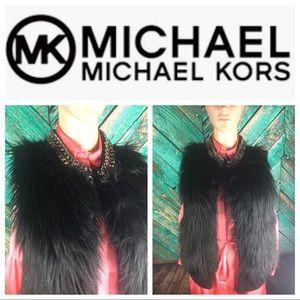 Michael Kors Faux Fur & Chain Vest